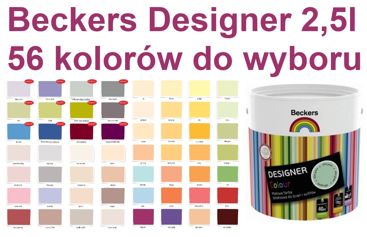 Beckers Designer Colour 2 5l Farba Lateksowa 56 Kolorow Do Wyboru